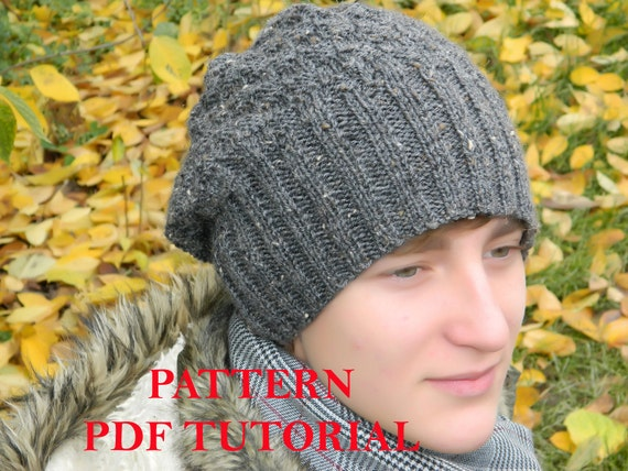 84e0d8de225 Men Slouchy beanie PATTERN man knit hat PDF Tutorial Knitting