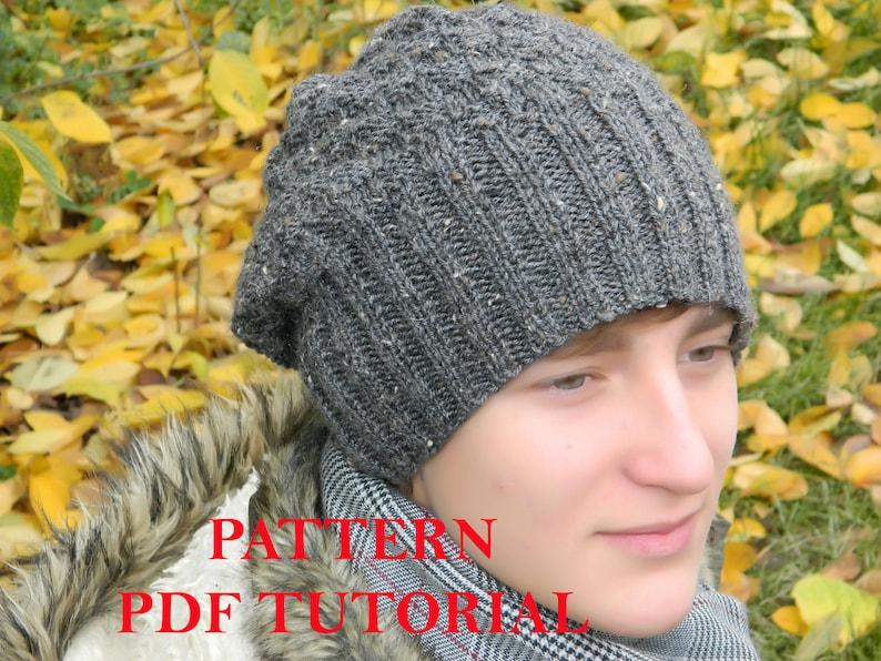 84e0d8de225 Men Slouchy beanie PATTERN man knit hat PDF Tutorial Knitting