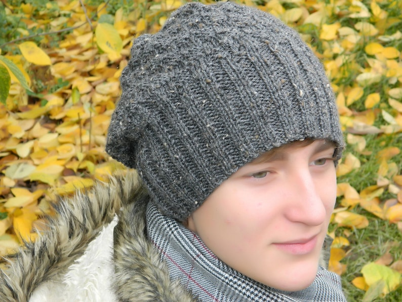 Mens Slouchy beanie hat Hipster knit hats Wool fall Gray  111480512f1