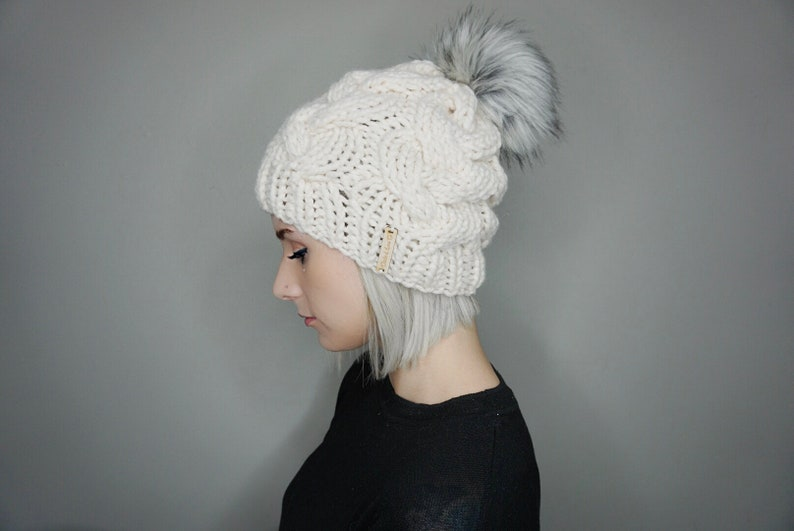a0b78c09a4c Braided Cable Knit Beanie with Faux Fur Pom Choose Your