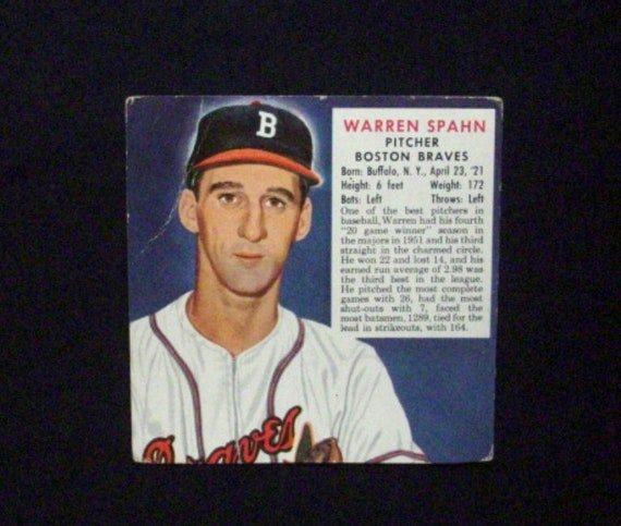 1952 Red Man Tobacco Baseball 22N Warren Spahn Boston