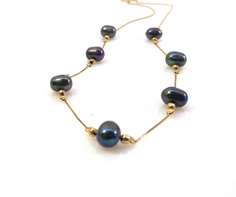 Purple pearls necklace Bridal jewelry Gold pearl necklace Gray pearl jewelry Wedding necklace Wedding jewelry Bridal necklace Gift