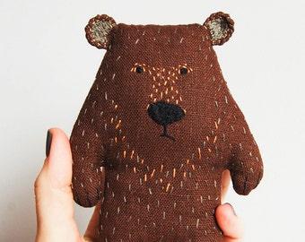 Stefan the Bear, grumpy bear, handmade teddy bear, woodland animal, bear shelf decor, basket filler