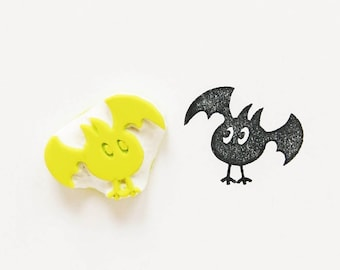 Bat rubber stamp, stationery stamp, Halloween bat stamp, best friend gift, hand carved stamp, mini stamps, animal stamps