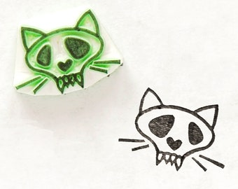 Cat skull stamp, zombie cat stamp, rubber stamp, Halloween cat, spooky stamps, best friend gift, Halloween gift, cute skull, coworker gift