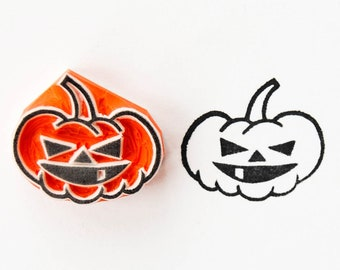 Jack-o'-lantern rubber stamp, Halloween carved pumpkin face ink stamp, small wicked pumpkin for packaging decor, cardmaking, journaling