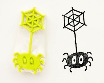 Small spider stamp, coworker funny gift, spider on web stamp, Halloween stamp, best friend birthday, minimalist stamp, funny gift
