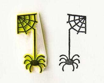 Spider stamp, handmade stamps, spider with web, Halloween stamp, small spider, diy Halloween, spooky spider, spider web stamp, coworker gift