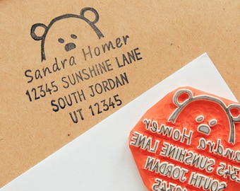 Return address stamp with animal face, custom rubber stamp with new family address, relocation to new home gift ideas