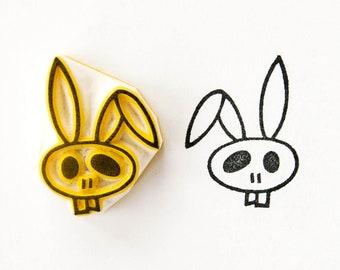 Bunny skull stamp, rubber stamp, skull stamp, Halloween bunny, cute skull, rabbit lover gift, best friend gift, zombie stamp, zombie bunny