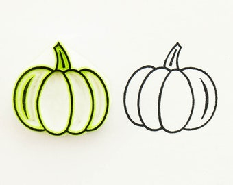 Pumpkin ink stamp, small hand carved rubber stamp, autumn harvest, pumpkin festival gift, Halloween and Thanksgiving ideas