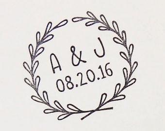Wedding rubber stamp, initials stamp, custom rubber stamp, wedding invitations, save the date stamp, hand carved stamp, woodlandtale