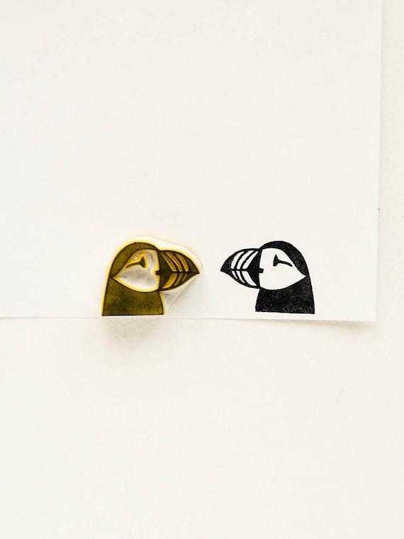 custom rubber stamp teacher name stamp best friend gift bird lover gift hand carved stamp seabird Puffin stamp