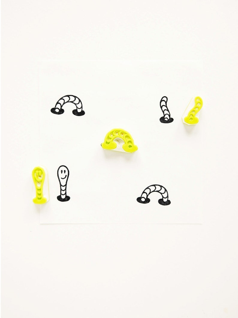Worm rubber stamp set of 3 mini stamps hand carved stamp image 0