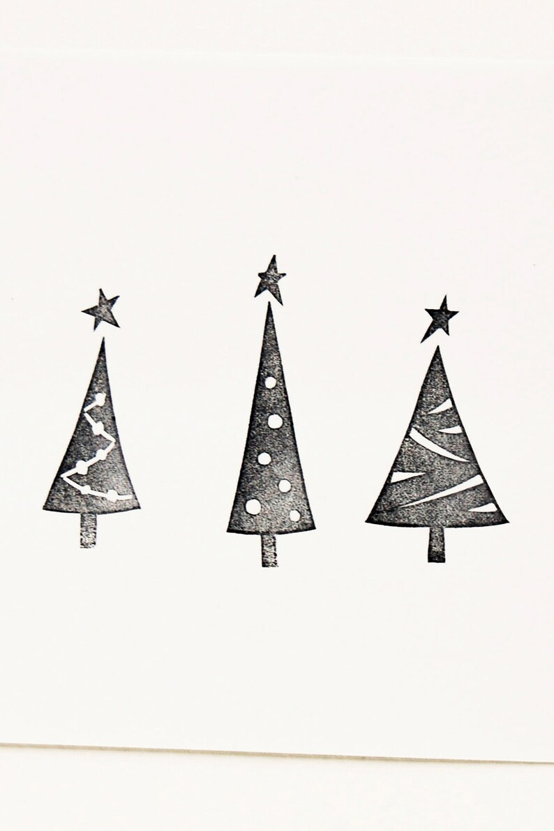 Small Christmas Tree Stamp Set Of 3 Handmade New Year Winter Etsy