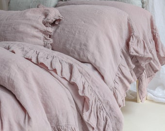 LINEN DUVET COVER .  Linen bedding set . Shabby Chic linen ruffled duvet cover  with ruffles. Softened and washed linen. MOOshop new colors.