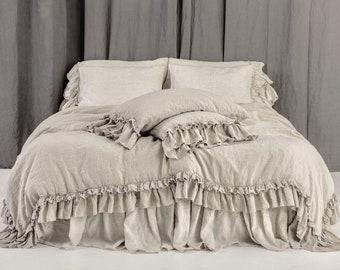 Linen DUVET COVER set. Rustic style linen bedding with double ruffles. Mooshop vintage style washed linen. New colours. 100% linen