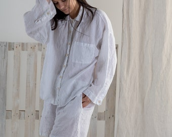 LINEN PAJAMA, linen shirt and linen shorts .Made by MOOshop.*7 new