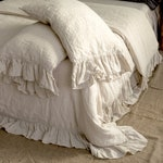 LINEN DUVET COVER .  Linen bedding set . Shabby Chic linen ruffled duvet cover  with ruffles. Softened and washed linen. MOOshop new *91
