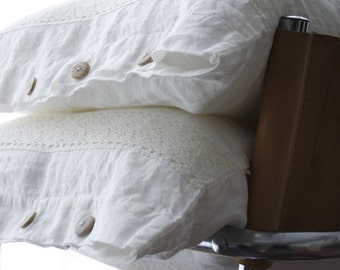Linen  pillowcase with French lace. Standard, queen, king, euro sham, body pillow size . Softened & stonewashed. Made by MOOshop.*35