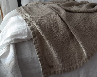 LINEN BLANKET. Rustic linen bed throw, bedspread. RAW washed & softened flax. Made by MOOshop.*67