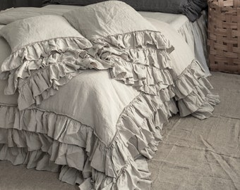 LINEN DUVET COVER set. French style thick ruffled stonewashed natural linen bedding. MOOshop classic bedding. New colours. Pure linen duvet.
