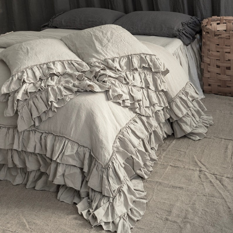 LINEN DUVET COVER   Linen bedding set  French style thick ruffled  stonewashed natural linen bedding  MOOshop 2018 new arrival*32
