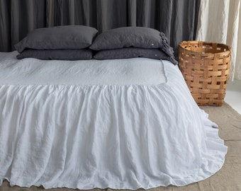 LINEN COVERLET dust ruffle. Ruffled linen bedspread, dust ruffle. Washed and softened. Made by MOOshop.*4