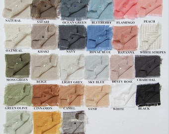 Linen fabric samples for all 29 colors bedding, lounge wear, Linen clothes.