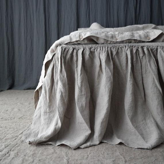 LINEN BED SKIRT dust ruffle Linen bedskirt Handmade by MOOshop.new*20