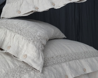 LINEN DUVET COVER. Natural French linen duvet cover with lace. Made by MOOshop.*33