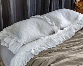 LINEN SHEETS SET with ruffles. 4 pieces-flat ruffled top sheet, fitted sheet and two ruffled pillowcases. Made by MOOshop.*49