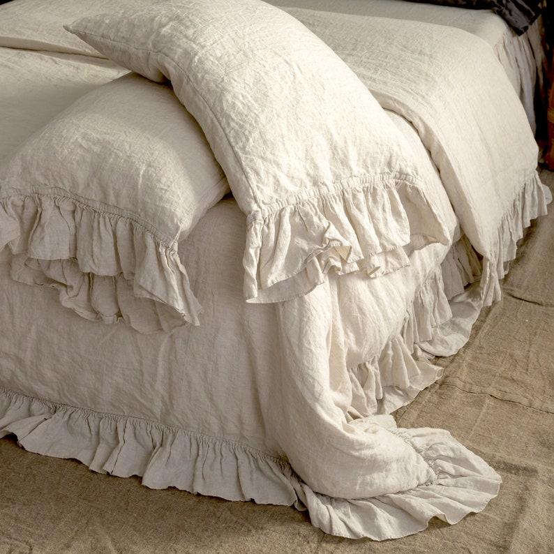 LINEN DUVET COVER .  Linen bedding set . Shabby Chic linen image 0