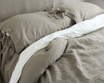 LINEN SHEETS SET of 4 pieces. France linen top and fitted sheet and two pillowcases. Made by MOOshop.new*6