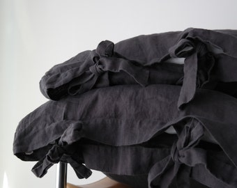 Linen pillowcase with ties, standard, queen, king, euro sham, body pillow size. Softened & stonewashed made by MOOshop.*39