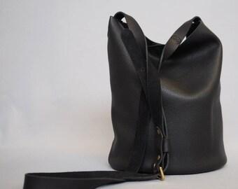 Leather Bucket Bag, Black Leather Shoulder Bag, Bucket Bag