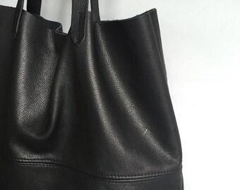 2533fdd817bf Large soft black leather tote bag