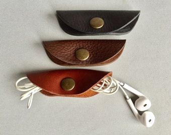 Leather Cable Tidy, Leather Headphone Case