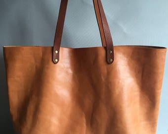 Tan brown leather tote, leather tote, leather shopper, tan brown tote, tan beach bag, tan shoulder bag, summer tote, large tan bag, tan bag