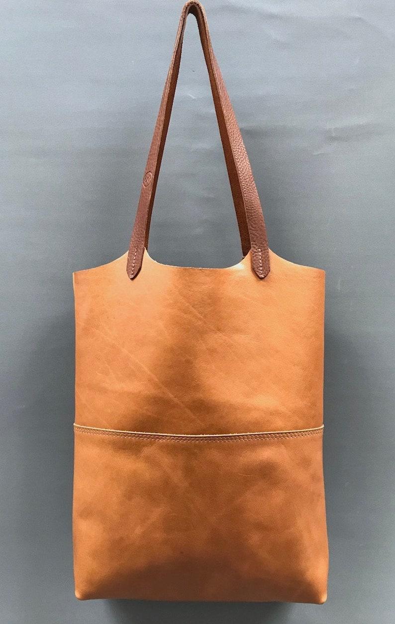 f5b6bb39b0785 Natürliche Tan Leder-Shopper-Tasche