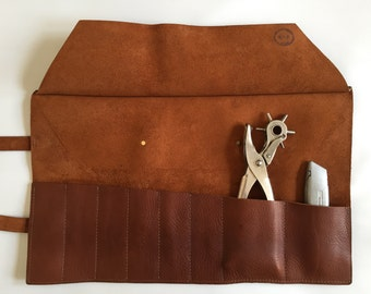 PERSONALISED tan brown leather tool roll, brown leather knife roll, brown leather knife case, motorbike toolcase, knife storage,gift for him