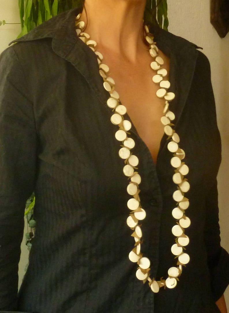 Ibiza Jewelry Wood /& Suede Large Necklace Boho Jewelry