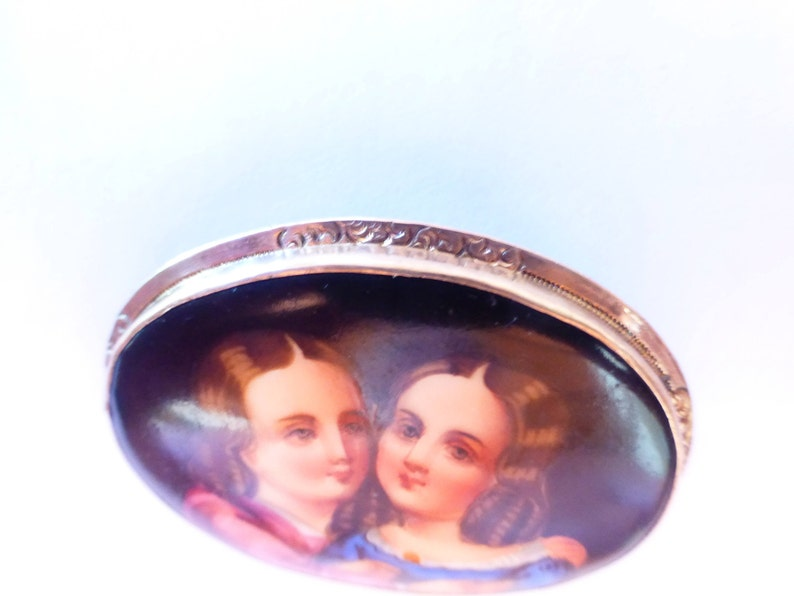 Antique Victorian Circa 1880 Enamel On Porcelain Family Portrait Brooch