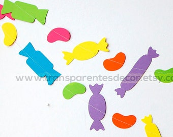 Candy party decor, Candy decorations, Candy bar banner, Rainbow candy paper garland, Candy table decoration, Sweets table banner, KV101