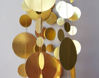 Goldene Hochzeitsdekorationen, Gold-Girlande, Brautdusche Dekor, Papier Girlande, Weihnachtsdekoration, Papier Girlande, KMC-1020