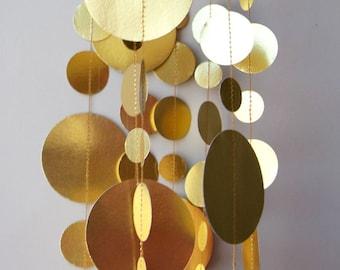 Gold wedding decorations, Gold garland, Bridal shower decor, Paper garland, Christmas Decoration, Paper garland, KMC-1020