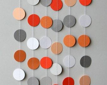 Orange & Gray garland, Birthday decoration, Birthday party garland, Nursery decor, Fall garland, Paper garland, KC-1077