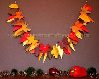 Fall garland, Leaf garland, Thanksgiving garland, Thanksgiving decoration, Autumn garland, Fall decoration, Home decor, Ornament, KH-5301