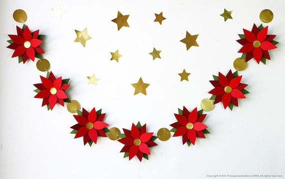 Mantle Garland Christmas Mantle Decorations Poinsettia Paper Etsy