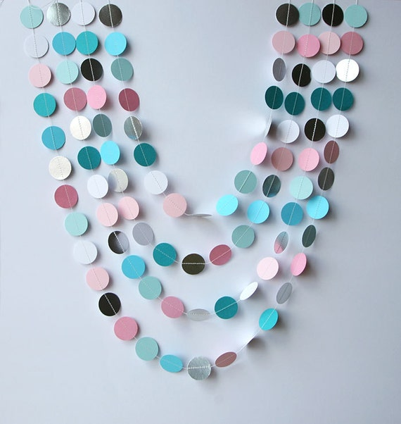Gender Reveal Party Decor Silver Garland Birthday Baby Shower Blue Pink White Bridal KMCS 8012